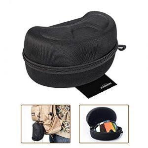 Housse de protection rigide pour masque de ski ou de snowboard avec fermeture éclair – Taille L – Avec chiffon de nettoyage – Overmont