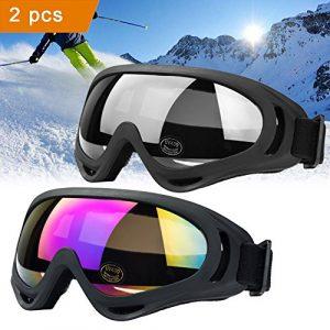 JTENG Masques et lunettes Ski, Snowboard Lunettes, Motoneige Moto Lunettes de protection Lunettes Lens Anti-poussière, UV Protection, lunettes équitation coupe-vent, lunettes de moto, lunettes de ski (2: 1 gris+ 1couleur)