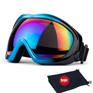 Lunettes de ski, JTENG Masques Snowboard de Protection Ski Lunettes, Ski Goggles Coupe-Vent, Lentilles Antiéblouissant & Anti-poussière pour Enfants, Garçons et Filles, Hommes et Femmes (bleu)