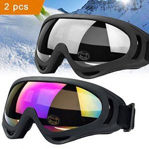lunettes de ski JTENG Masques Snowboard Lunettes, Motoneige Moto Lunettes Ski Goggles protection Lunettes Lens Anti-poussière, UV Protection, lunettes de moto pour Enfants,Garçons et Filles,Hommes