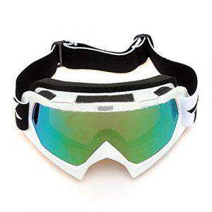 Lunettes de ski – TOOGOO(R) Lentille unique motocross goggles lunettes de ATV cross-country dirt velo moto ski argent