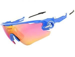 Queshark Lunettes de Soleil Polarisées Sports pour Ski Conduite Golf Course Cyclisme Conception du Cadre Super Léger pour Hommes et Femmes (Blue)