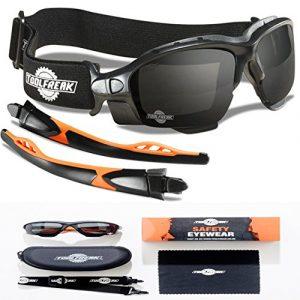 Les lunettes de sécurité spoggles haut de gamme par ToolFreak | une combinaison parfaite de lunettes de sécurité et de lunettes de protection | Rembourrées de mousse | Lunettes de protection élégantes | Anti-rayure | Protection contre les rayons ultra violets à 99.9% | les verres fumé | adaptées à l'industrie professionnelle | Le sport & Les activités de plein air | BS