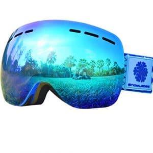 Lunettes de Ski – Sans Cadre, Snowledge Lentilles Convertibles à Double Sphère, Anti-rayures, Anti-brouillard, Elle Convient Aux Hommes et Femmes , Ski/Snowboard Goggles-100% Anti-UV
