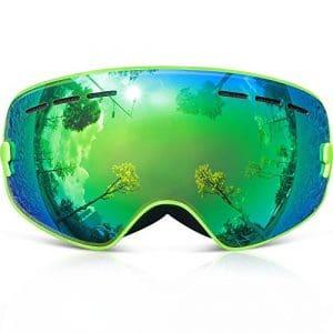 Masque de Ski Enfants,COPOZZ G3 Junior Lunette de Ski Pour Garcon Fille 3 4 5 6 7 8 9 10 11 12 13 14 Ans – Brouillard Anti Buee Otg Anti-UV400 Coupe-Vent – Lentille de Miroir Cool Blanc Vert