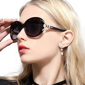 Lunettes de Soleil pour Femme Lunettes de Soleil Polarisées Classiques 100% UV400 Protection (Noir)