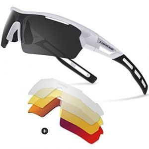 Torege TR033 – Lunettes de soleil polarisées mixtes – Cyclisme – Course à pied – Pêche – Golf., White/Black tips&Red lens