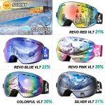 Odoland Lunettes de Ski pour Enfants et Adolescents, Lunettes de Protection Anti-buée et Anti-UV compatibles avec Les Casques de Ski, Multicolores (Grandes Lunettes de Ski sphériques Rose)