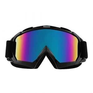 Sijueam Lunettes de Protection de Yeux Visage Masque pour sport de plein air Anti-UV coupe-vent Anti-sable Anti-poussière pour Activités Extérieures vélo Moto Cross VTT Ski Snowboard Cyclisme Goggles – Cadre Noir, lentille de couleur
