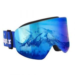 Unigear Lunettes de Ski, Masques Snowboard Lunettes cylindriques Anti-UV400 Anti-buée Anti-poussière pour Hommes et Femmes (REVO Bleu)