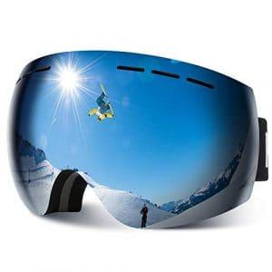 HAUEA Lunettes de Ski, Masque de Ski Double Lentille Anti-Buée, Anti-Choc, Anti-Rayure et Protection UV400, 3 Couches de Mousse Coupe-Vent, Compatible avec Casque, OTG ((Argent)
