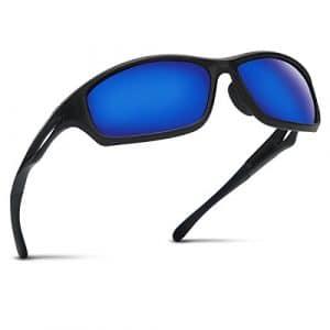 Occffy Lunettes de Soleil Polarisées pour Hommes – UV400 pour Sports Baseball Course Cyclisme Pêche Golf Tr90 (Cadre Mat Noir avec lentille Bleue)
