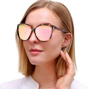 LVIOE Lunette de Soleil Oeil de Chat Miroité Verres Légère Pour Femme Protection UV400 Polarized Lunettes de Soleil (Rose)