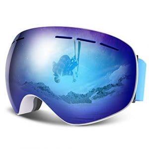 HAUEA Lunettes de Ski, Masque de Ski Double Lentille Anti-Buée, Anti-Choc, Anti-Rayure et Protection UV400, 3 Couches de Mousse Coupe-Vent, Compatible avec Casque, OTG, pour Hommes et Femmes (Bleu)