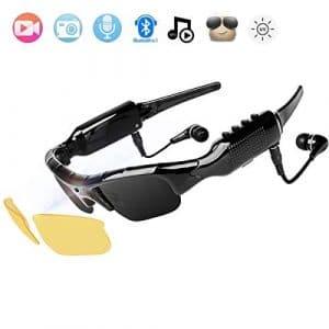 NewZexi Portable Bluetooth Lunettes de Soleil 1080P Caméra Lunettes Mini DV Bluetooth Casque Mains Libres Conduite Lunettes de Soleil de Cyclisme avec Interchangeable Vision Nocturne Lentilles
