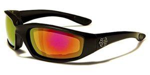 Choppers Masque et Lunettes de Soleil – Multisports – Vtt – Ski – Surf – Moto – Voile – Conduite / Mod. Bull Noir Iridium Miroir