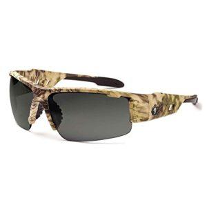 Ergodyne Skullerz Dagr Anti-Fog Safety Sunglasses- Kryptek Highlander Brown Camo Frame, Smoke Lens