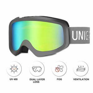 Unigear Lunettes de Ski, Skido X1 Lunettes de Snowboard Cylindrique Anti-buée, Ski Goggles Anti-UV413 Système de Ventilation Adapté pour Les Activités Ski Snowboard pour Adultes