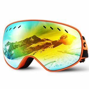 Glymnis Masque de Ski Lunettes de Ski Hommes Femmes Anti-buée OTG Anti-UV400 Mousse Respirante à 3 Couches pour Activité Extérieur (Orange)
