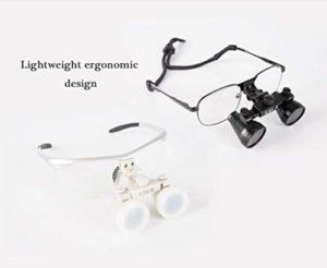 JianKang Double Loupe Eye Surgery 3.0 Fois Galileo Dental Otolaryngology loupe de Chirurgie,Rouge,3.5times