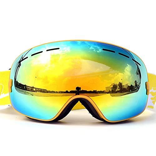 TAOXUE Lunette de Ski, Lunettes d'anti-buée et Coupe-Vent pour Les Hommes,Les Femmes et Les Jeunes, Protection UV 400 et lentille d'anti-éblouissement,Jaune