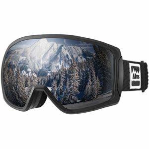 ALLROS Masque de Ski Lunettes de Snowboard avec Protection à 100% Contre Les UV OTG Anti-buée Dual Lens Lunettes de Ski Casque Compatible pour Hommes Femmes Adulte Jeunesse