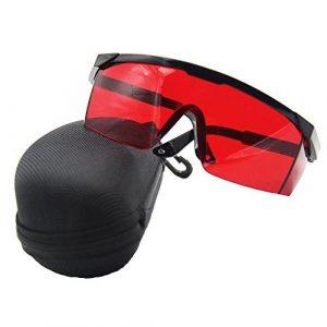 ANZESER LB-FT lunettes de sécurité laser avec temple réglable, lentille rouge, cadre noir avec étui