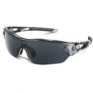 Bea Cool Lunettes de Soleil de Sports Polarisée pour Hommes Femmes Jeunes Baseball Cyclisme Course Pêche Golf Moto UV400 Lunettes (Gris Transparent)