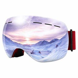 Bfull OTG Lunette de Ski, Lunettes d'anti-buée et Coupe-Vent pour Les Hommes,Les Femmes et Les Jeunes, Protection UV 400 et lentille d'anti-éblouissement. (Red Frame-Silver Lens VLT 9.5%)