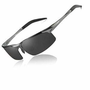BSET BUY Lunettes de Soleil de Sport polarisées pour Hommes et Femmes, idéales pour la Conduite, la pêche, Le vélo et la Course, Protection UV Noir