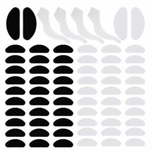 Coussinets de Nez Adhésif Plaquettes en Silicone 32 Paires Antidérapante Nez Pad pour Lunettes Lunettes de Soleil Spectacles, 1 mm (Transparent et Noir) et 2 paires Crochets d'oreille de lunettes