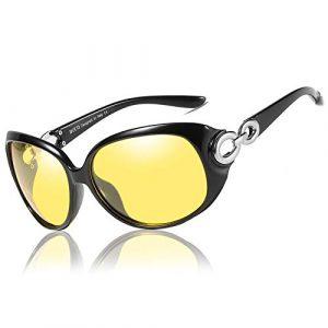 Duco Lunettes de conduite de nuit HD pour femmes, lunettes de soleil jaunes ovales et élégantes, anti eblouissement 1220 (Noir)