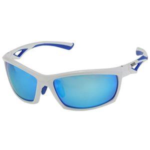 Duco Lunettes de soleil polarisées Cyclisme Pêche Golf Sports de plein air Lunettes de soleil mixtes TR90 Monture incassable 6211 (verres bleu cadre blanc)