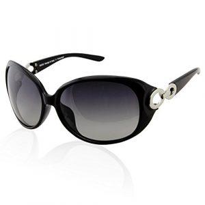 Duco Lunettes de soleil pour femme Lunettes de soleil polarisées classiques 100% anti-UV 1220 (Noir)