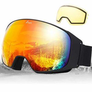 Elegear Masque Ski Snowboard, [2020 Nouveau] Lunettes de Ski Lunettes à Miroir Anti-Buée Ski Goggles pour Homm Femme Motoneige Unisexe Lentille d'anti-éblouissement, UV 400 Protection