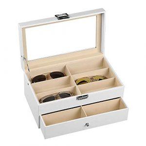 Étui à lunettes de soleil Vitrine blanche à deux niveaux en forme de lunettes de soleil, 12 pièces, avec organisateur d'accessoires pour boîte à tiroirs Boîte de rangement à couvercle pliant