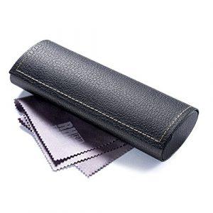 FEFI – Etui à lunettes classique en look cuir – Hardcase – y compris chiffon de nettoyage de lunettes de haute qualité (noir)