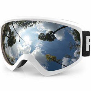 findway Masque de Ski Protection pour Enfant Lunette Ski Masque Ski OTG de Garçon ou Fille Anti-UV Antibuée Compatible avec Casque pour Ski Snowboard Autres Sports Hiver (Lentille Argent (VLT 21%))