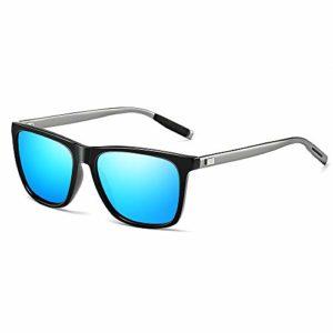 Gimdumasa Polarisées Les Des Lunettes De Soleil Femme Hommes Vintage Unisexe Protection UV GI777 (Monture noire avec lentille bleue)