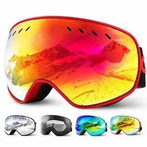 Glymnis Masque de Ski Lunettes de Ski Hommes Femmes Anti-buée OTG Anti-UV400 Mousse Respirante à 3 Couches pour Activité Extérieur (Rouge)