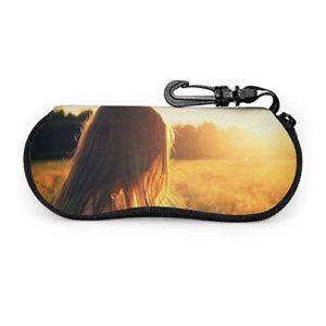 KANKANHAHA Étui de lunettes de soleil pour femme fille avec fermeture éclair portable pour lunettes de soleil