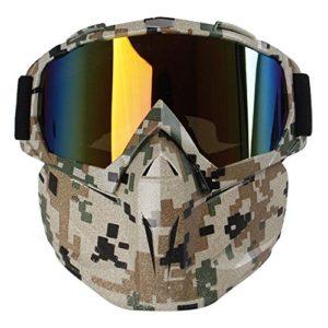 Kobwa Masque de moto avec lunettes, anti-brouillard, coupe-vent, casque à visage ouvert pour motocross, ski, équitation, sports de plein air, camouflage