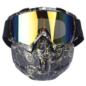 Kobwa Masque de moto avec lunettes, anti-brouillard, coupe-vent, casque à visage ouvert pour motocross, ski, équitation, sports de plein air, Golden Pattern