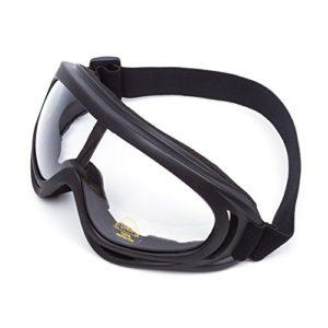 Lunettes de Protection Masque de Visage Incassable Anti-UV Coupe-Vent Anti-Poussière Anti-Sable Anti-Brouillard pour Activités Extérieurs Vélo Moto Cross VTT ATV Ski Équitation (Lentille Noir)