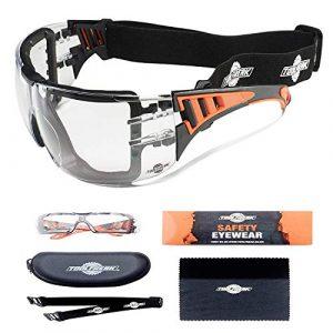 Lunettes de sécurité ToolFreak Rip-Out pour le travail et le sport, Protéger contre les UV et Impacts, étui et tissu, lentilles claires