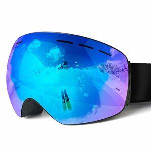 Lunettes de Ski, Lunettes de Neige Lunettes Vent Protection 100% UV, protéger des Vents, de la Neige, de la lumière Forte pour Les Sports de Surf des neiges en extérieur Vélo Moto Motoneige (Noir)