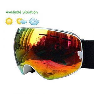 Lunettes de Soleil Ski Doubles Couches Anti-buée Lunettes de Ski Ski Lunettes Hommes Femmes Neige Masque Snowboard Lunettes de motoneige (Color : K)