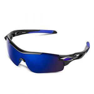 Lunettes de Soleil Sports Polarisées pour Hommes Femmes Jeunes Baseball Cyclisme Course Pêche Golf Moto UV400 Lunettes (Bleu noir, Bleu)