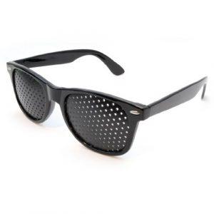 Lunettes sténopéïques, lunettes à grille, lunettes de repos à sténopé, lunettes pour améliorer sa vue, lunettes à trous, avec des branches pliables, forme: B, couleur: noir, de la marque Ganzoo