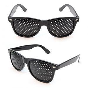 Lunettes sténopéïques, lunettes à grille, lunettes de repos à sténopé, lunettes pour améliorer sa vue, lunettes à trous, avec des branches pliables, forme: B, couleur: noir, de la marque Ganzoo – lot de 2 paires